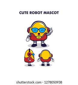 A funny robot mascot design. Can be used for promotional purposes related to technology, or can also be used on packaging and other media. The size of the artboard is 1000px x 1000px