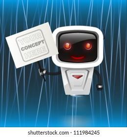 funny robot over blue lasers background. vector design