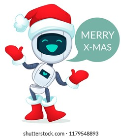 Funny robot santa. Vector illustration.