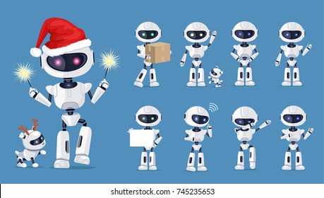 Funny robot set of icons with white beautiful cyborg and his friend on blue background. Vector illustration with robot-man and deer in different poses