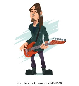 funny rock star playing guitar, guitarist, heavy metal, band person, cartoon character