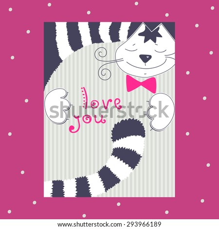 Funny Romantic Card With Happy Striped Cat And Bow Smile Cartoon Animal Love Story
