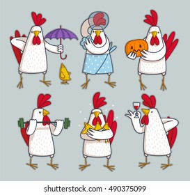 funny roosters set