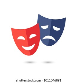 Funny and sad theater masks, vector icon on white background.