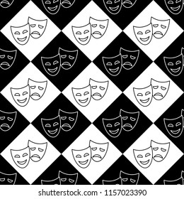Funny and sad theater masks, vector black and white seamless pattern.