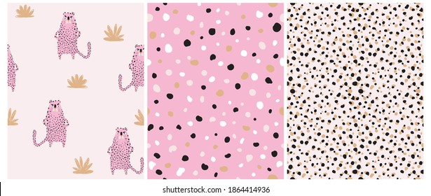 Funny Safari Party Seamless Vector Patterns Set. Wild Cat. Cute Infantile Style Nursery Art with Pink Leopard ideal for Fabric, Textile, Wrappinig Paper. Abstract Leopard Skin Print. Irregular Spots.