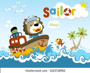 Funny Sailor cartoon vector on little ship