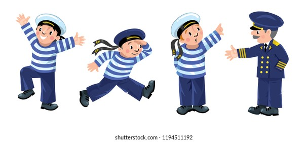 Funny sailors and captain kids illustration set