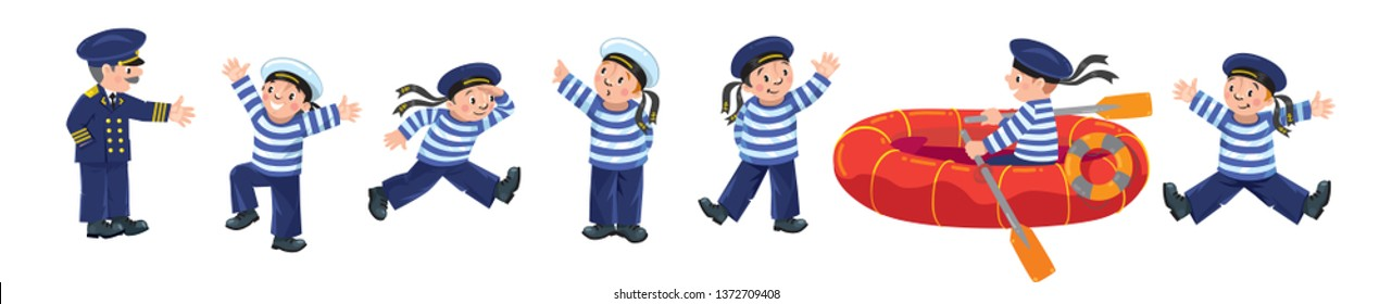 Funny sailors and captain vector illustration set