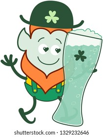 Funny Saint Patrick's Day Leprechaun with red beard, pointy ears and traditional shorts with suspenders showing how much he is in love with a huge glass of beer