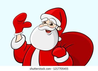 Funny Santa Claus Character. Cartoon Vector Illustration.