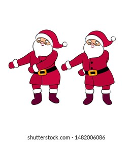 Funny Santa Claus dancing. Quirky cartoon character. Floss loke a boss dance moves. Young style. Party red costume. Isolated on white background. Christmas vector illustration for winter greeting.