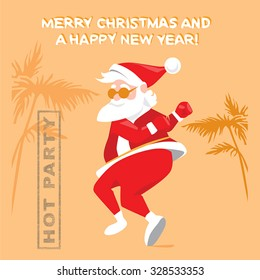 Funny Santa Claus dancing the twist on a hot party, Christmas card in a cartoon style
