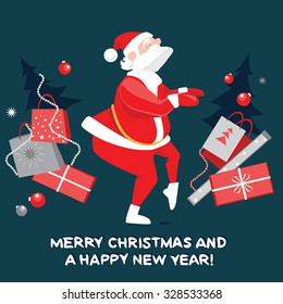 Funny Santa Claus dancing the twist, Christmas card in a cartoon style