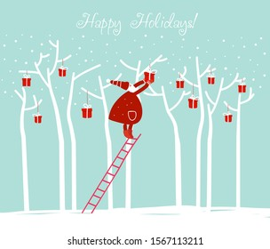 Funny Santa Claus decorating Christmas tree with presents. Cute winter holiday card. Stylish Christmas and New Year vector illustration