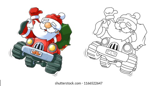 Funny Santa Claus Driving a Car Coloring Book with a Colored Example