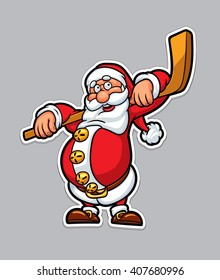Funny Santa Claus with a hockey stick. Christmas card background poster. Vector illustration.