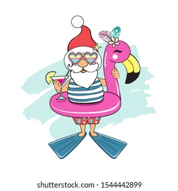 Funny santa claus holds cocktail and with an inflatable flamingo on a white background