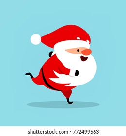 Funny Santa Claus runs, hurries, goes in for sports. Christmas vector illustration is suitable for New Year's design, advertising, banners, flyers, flyers. Element from the New Year's collection