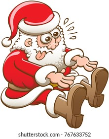 Funny Santa Claus in seated position and wearing Christmas clothes while making a big effort to stretch and touch the tip of his boots with his fingers