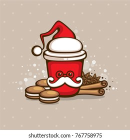 Funny Santa coffee. Cartoon character. Cute cup with cookies and spice. Vector illustration. Christmas greeting card design element. Holiday menu decoration template.