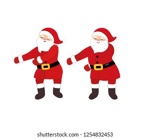 Funny Santa dance floss like a boss meme, quirky cartoon dancing comic character, Christmas costume, red hat, isolated on white background, teenage style for print, t-shirt, card, party invitation.