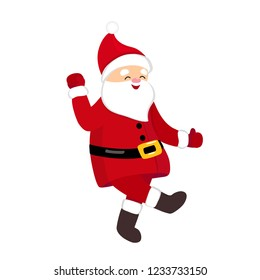 Funny Santa dancing hype move, quirky cartoon comic character in traditional Christmas costume, isolated on white background, young style for print, t-shirt, card, party invitation, animation, ads.