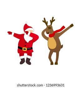 Funny Santa and deer dancing dab move, quirky cartoon comic characters, isolated on white background, young modern style for print, t-shirt, card, Christmas party invitation, animation, advertising.