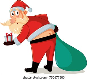 Funny Santa in Embarrassing Moment with Christmas Gifts Cartoon. Santa wearing a too tight costume suffering a clothing incident