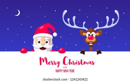 Funny Santa and reindeer. Christmas greeting card design. Flat style celebration banner.