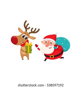 funny Santa and funny reindeer holding Christmas gifts, cartoon vector illustration isolated on white background. Santa Claus and deer, Christmas attributes, holiday decoration elements