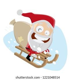 funny santa riding on sled