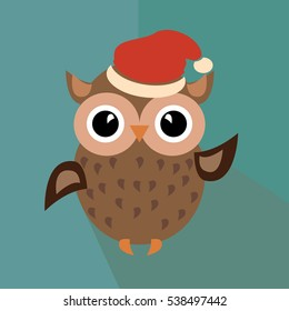 Funny santaclaus owl in red hat