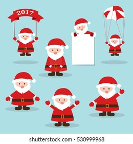 Funny santa.Cute Santa claus.Santa holding a banner.Santa Claus with parachute.Merry christmas illustration.Christmas design over blue background vector illustration.Vector illustration.