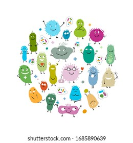 Funny and scary bacteria characters isolated on white. Circle frame background for your design. Icons of gut and intestinal flora, germs, virus. Vector Illustration