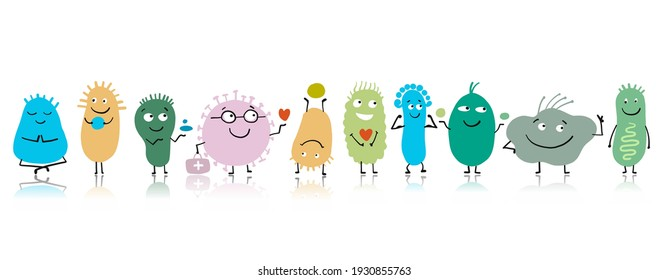 Funny and scary bacteria characters isolated on white. Vector icons of gut and intestinal flora, germs, virus. Illustration - Shutterstock ID 1930855763
