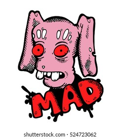 """Funny scary creepy stylish isolated graffiti of a mad crazy stupid pink hare resembling a zombi, in the style of street art with the red word """"mad"""" at the bottom against the background of splashes"""