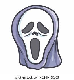 Funny and scary ghost mask for Halloween - vector.