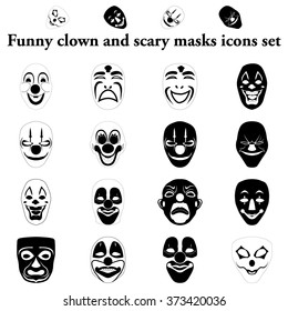 Funny and scary masks simple icons set