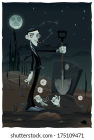 Funny scene in the cemetery. Cartoon and vector illustration