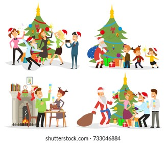 funny scenes: people celebrate the new year. different situations. vector illustration