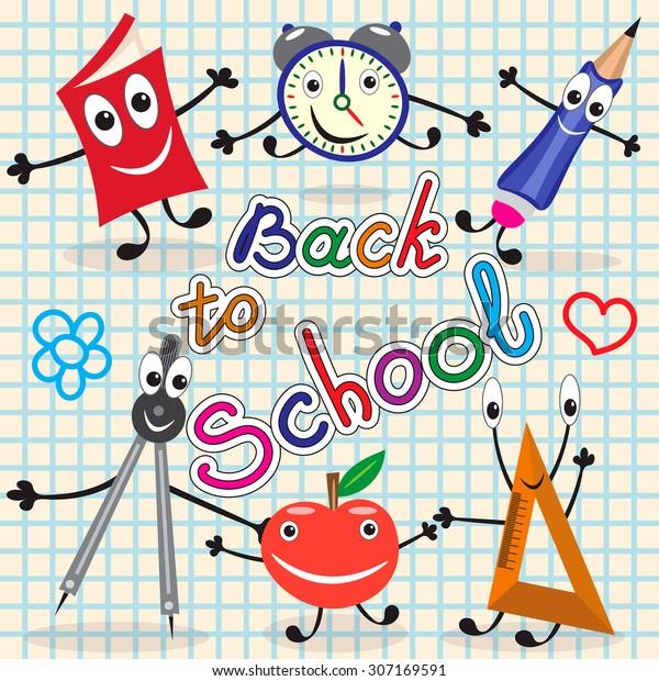 Funny School Supplies Label Back School Stock Vector
