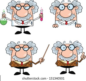 Funny Scientist Or Professor Cartoon Characters. Set Vector Collection 7