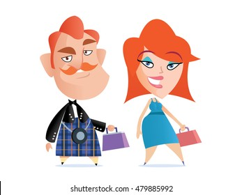 Funny Scottish couple with handbag. Vector illustration.