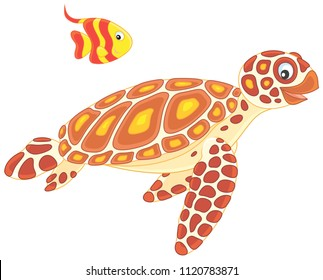 Funny sea loggerhead turtle and a small striped butterfly fish swimming together, vector illustration in a cartoon style