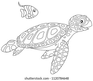 Funny sea loggerhead turtle and a small striped butterfly fish swimming together, black and white vector illustration in a cartoon style for a coloring book