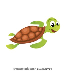Funny Sea Turtle Vector Illustration