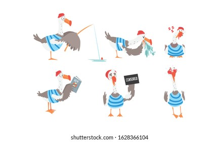 Funny Seagull Sailor Collection, Captain Bird Cartoon Character in Various Actions Vector Illustration