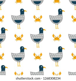funny seagulls in a flat style, vector sea bird illustration, for children, cute pattern with birds and crabs, wallpaper