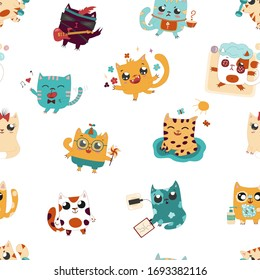 Funny seamless background with happy and naughty domestic pet cats, who play, sing, wash hands, do sport, take exercise.